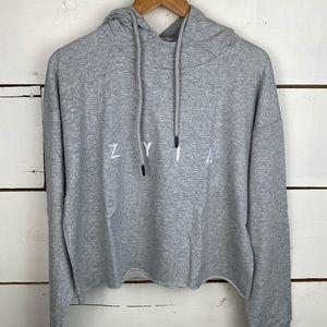 Zyia gray raw edge crop hoodie Medium